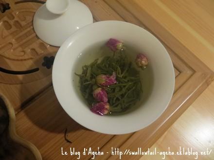 Thé baisha et boutons de roses